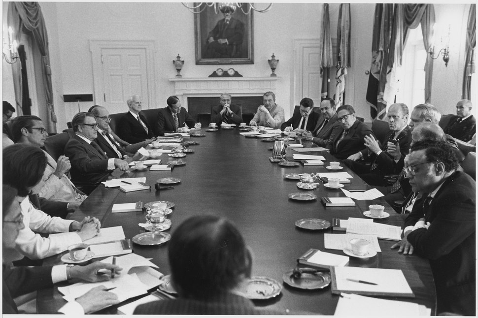 Photograph of President Gerald R. Ford Presiding Over an Afternoon Cabinet Meeting in the Cabinet Room - NARA - 186811