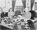 Photograph of President Truman at work at his desk in the Oval Office, dictating to his secretary, Rose Conway. - NARA - 199481.tif