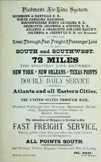 Richmond and Danville Railroad - Piedmont Air Line System advertisement 1882