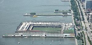 Pier 40 at Hudson River Park - Pier 40 (front) and piers 45 and 46, as seen from One World Observatory