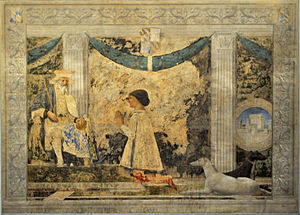 Tempio Malatestiano -  Sigmondo Malatesta, the Prince of Rimini, before St. Sigismund by Piero della Francesca.