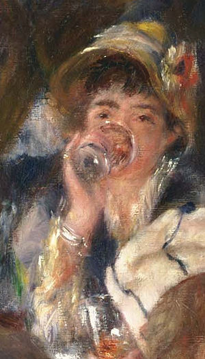 Ellen Andrée - Andrée drinking in the center of Luncheon of the Boating Party by Renoir