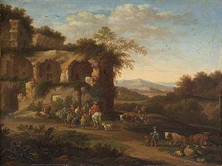 Italienische Landschaft mit antiken Ruinen und Hirten