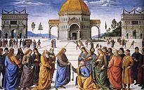 Pietro Perugino - Entrega de las llaves a San Pedro (Capilla Sixtina, Roma, 1481-82).jpg