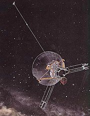 Artist's conception of Pioneer 10, which passed the orbit of Pluto in 1983. The last transmission was received in January 2003, sent from approximately 82 AU away. The 35-year-old space probe is now receding at over 43,400 km/h (27,000 mph) from the Sun.