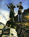 Pirosmani. Sheteh Helps Prince Bariatinsky to Apprehend Shamil. Oil on oil-cloth, 113x89 cm. The State Museum of Fine Arts of Georgia, Tbilisi.jpg