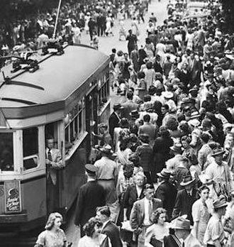 1947 Sydney hailstorm - The trams on the eastern suburbs route, from Central station to Circular Quay via Pitt Street, suffered damage from the hail.