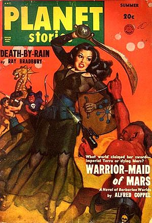 """Alfred Coppel - Coppel's """"Warrior Maid of Mars"""" was the cover story in the Summer 1950 issue of Planet Stories"""