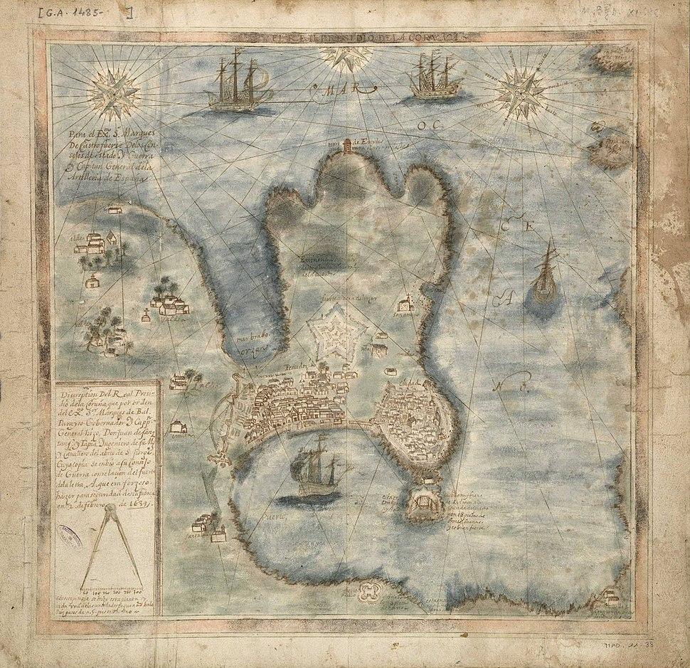 Plano da Coruña Coruña de Santans y Tapia, 1639