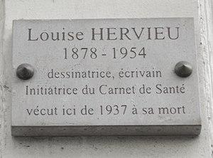 Louise Hervieu - Plaque at number 55 rue du Cherche-Midi in the 6th arrondissement of Paris.