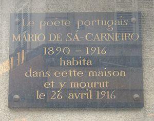 Mário de Sá-Carneiro - Image: Plaque Mário de Sá Carneiro, 29 rue Victor Massé, Paris 9