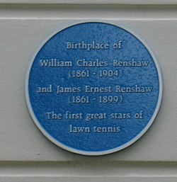 Photo of William Charles Renshaw and James Ernest Renshaw blue plaque