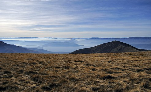 Great Prespa Lake (right) and Small Prespa Lake (left) seen from Baba Mountain above the village Brajčino, Macedonia.