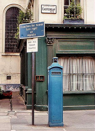 Eastcheap - A police box on Eastcheap, 1981