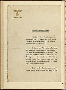 Politisches Testament Adolf Hitlers Wikipedia
