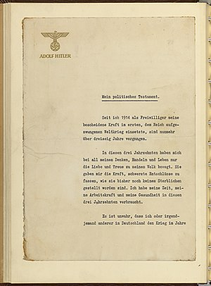 Last will and testament of Adolf Hitler - First page of the political testament