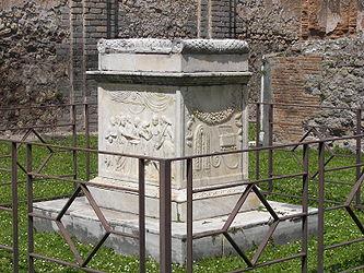Pompeii Temple of Vespasian altar side.jpg