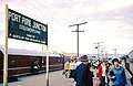 Port Pirie Junction (Solomontown) platform with passengers changing between Adelaide and Kalgoorlie trains, 1 Sep 1965 (Lindsay Bridge).jpg