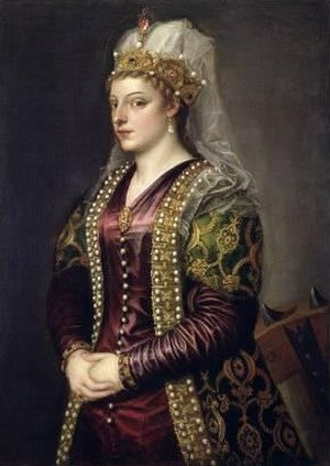 "Venetian Cyprus - Portrait of venetian Caterina Cornaro, the last medieval ""Queen of Cyprus"", by Titian"