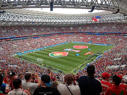 The Luzhniki Stadium in Moscow, which hosted games of the 2018 FIFA World Cup Portugal-Marocco 2.jpg