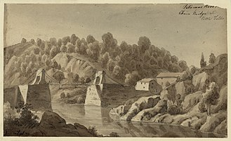 Chain Bridge (Potomac River) - 1839 drawing of the Chain Bridge