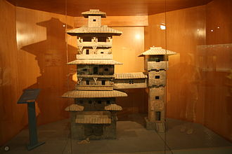 Skyway - A Han Dynasty (202 BC – 220 AD) Chinese miniature model of two residential towers joined by a skyway
