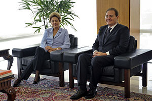 Renan Calheiros - Calheiros meets with President Dilma Rousseff at the Planalto Palace in June 2015.