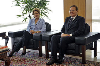 Renan Calheiros - Calheiros meets with then-President Dilma Rousseff at the Planalto Palace in June 2015.