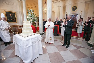 Pope Benedict XVI celebrates his 81st birthday with U.S. President George W. Bush and his wife, Laura. The White House, Washington D.C. 20080416 Benedict XVI George W Bush birthday.jpg