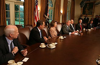Barack Obama presidential campaign, 2008 - Obama (far right) participates in a bipartisan meeting with President Bush and Senator McCain, and House and Senate party leaders regarding the economy, September 25, 2008