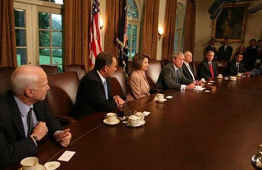 President George W. Bush bipartisan economic meeting Congress, McCain, Obama