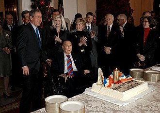 President George W. Bush with Thurmond on his 100th birthday in 2002 President George W. Bush wishes Sen. Strom Thurmond happy birthday during a birthday celebration at the White House.jpg