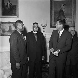 Stephen Gill Spottswood - E. Franklin Jackson and Stephen G. Spottswood representing the NAACP in a meeting with president John F. Kennedy at the White House