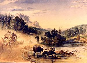 Prahova Valley - Prahova Valley, in an aquarelle by Amedeo Preziosi