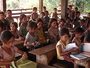 Demographics of Laos - A primary school in a village in northern rural Laos