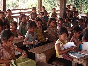 Demographics of Laos - A primary school in a village in northern rural Laos
