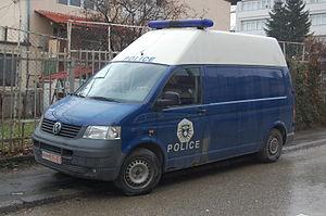 Kosovo Police - Police van in Prishtina