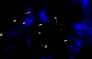 Shoot 'em up - A screenshot from Project Starfighter, a side-scrolling shoot-'em-up video game