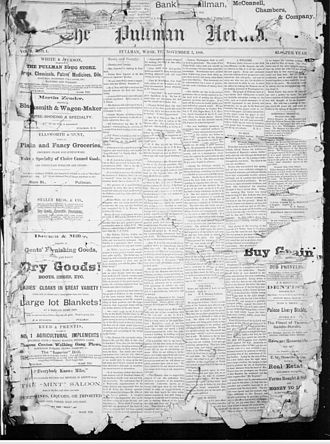 William Goodyear - First issue of the Pullman Herald, dated November 3, 1888. Goodyear published the newspaper since 1901.