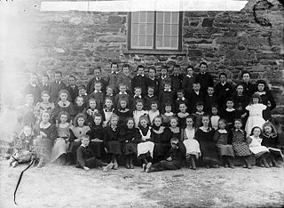 Pupils at the national school, Y Borth