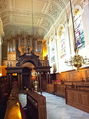 The Queen's College, Oxford - The Chapel of The Queen's College, Oxford. Looking west towards the Frobenius organ.