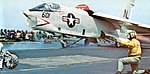 RF-8G Crusader of VFP-63 is launched from USS Coral Sea (CVA-43), in 1973.jpg