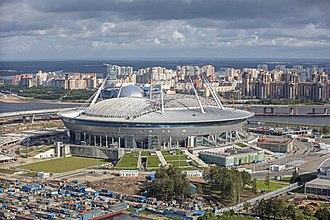 2017 FIFA Confederations Cup - Image: RUS 2016 Aerial SPB Krestovsky Stadium 01