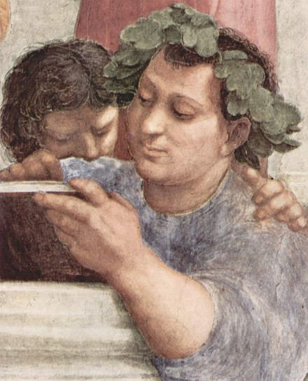 Epicurus is shown among other famous philosophers in the Italian Renaissance painter Raphael's School of Athens (1509-1511). Epicurus's genuine busts were unknown prior to 1742, so early modern artists who wanted to depict him were forced to make up their own iconographies. Raffael 063.jpg