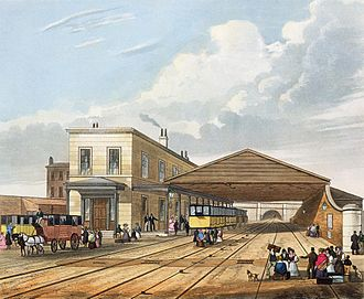Crown Street railway station - An 1833 engraving of Crown Street, the original Liverpool terminus of the Liverpool and Manchester Railway