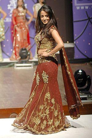 Lehenga Style Saree - Actress Raima Sen in a Lehenga Style Saree