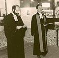 Rainer Hoffschild Der bekennende homosexuelle Pfarrer Hans-Jürgen und Kollege Meyer Klaus Brinker in der KZ-Gedenkstätte Bergen-Belsen am 8. November 1986 II.jpg