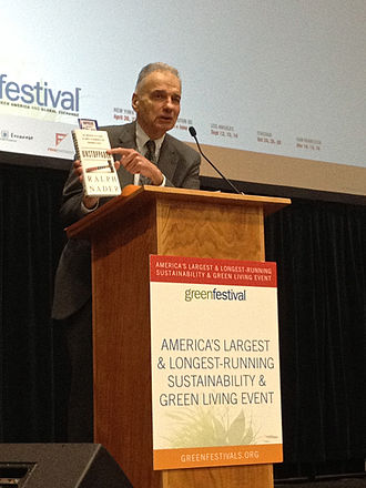 Unstoppable: The Emerging Left–Right Alliance to Dismantle the Corporate State - Ralph Nader holding his book Unstoppable at the 2014 Green Festival, Washington D.C.