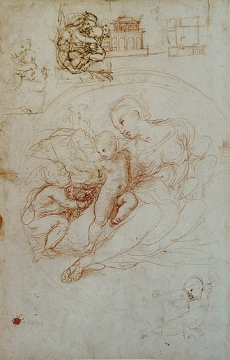 Drawing - Raphael, study for what became the Alba Madonna, with other sketches