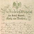 Ratifikationsurkunde König Friedrich Wilhelms IV von Preußen 1850.jpg